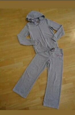 JUICY COUTURE girls grey 2 piece soft velour tracksuit set AGE 8 YEARS AUTHENTIC