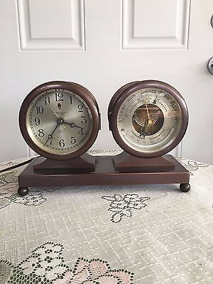 Vintage-Brass Chelsea Ships Bell Clock & Barometer w/Thermometer Set w/ Advert.