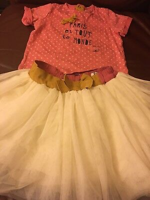 Girls Mamas and Papas cream tutu skirt and pink top so pretty  age 2-3 years