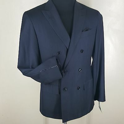 *kiton* -New-Recent Double Breasted Suit Side Vents Blue/gray Stripe 40 Short