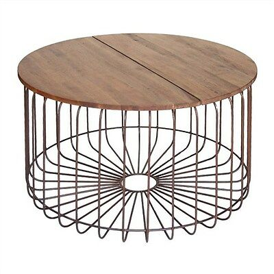 Arrell Solid Mango Wood Timber & Metal Round Coffee Table - Bronze - 80Cms.