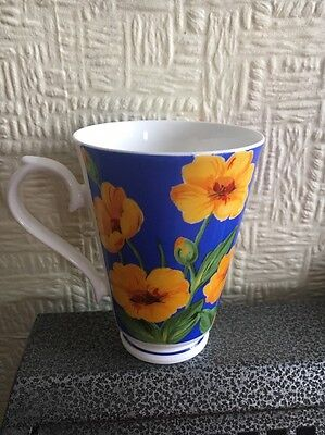 Roy Kirkham Vintage Fine Bone China Mug Fantasie Yellow Flower 1996