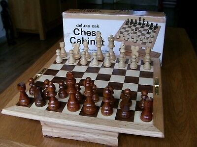 Deluxe Oak Wood Cabinet Chess Set & Board