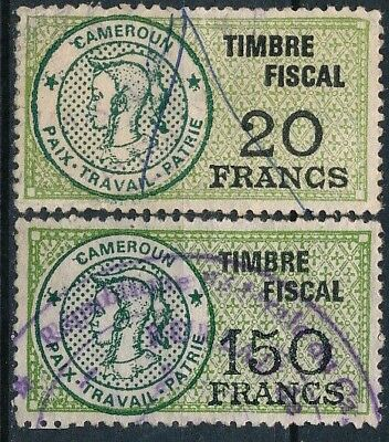 CAMEROUN  , ex FRENCH COLONIE, 20 Frs & 150 Frs VALUES, 2 USED REVENUES . #E55