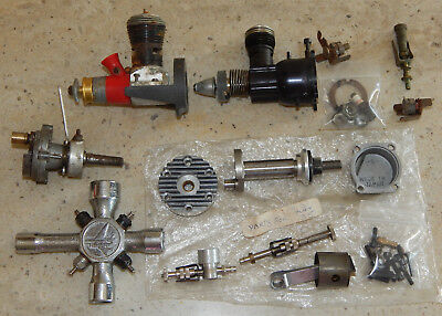 Vtg RC Model Airplane Engine Lot O S Max 35 Parts Thunder Tiger Glow Plug Wrench