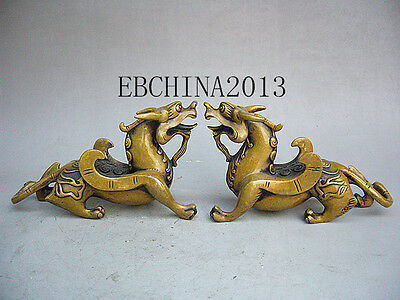 """7""""China Folk Culture old antique collection a pair of bronze statue of kirin"""