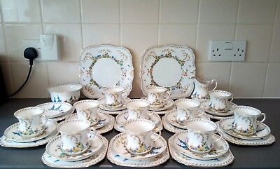 Vintage china tea set tuscan hand painted floral trio wedding parties