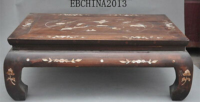 "26"" Chinese Furniture huanghuali wood Inlay Shell Crane Plum Deer Tables Desk"