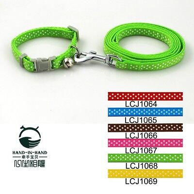 Pet Outdoor Polka Dot Print Adjustable Traction Rope Dog Neck Chain Leash Green