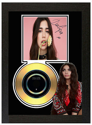 Dua Lipa  - A4 Signed Framed Gold Vinyl Collectors Cd Display Picture