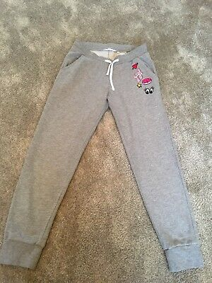 H&M Grey Girls Joggers With Embroidered Motif Heart Eyes Eur 158 Age 11–12years