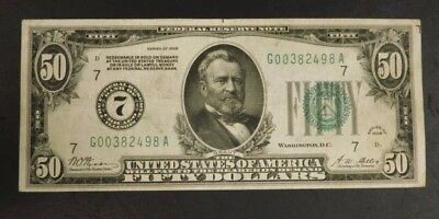 1928 U.S. $50 Bill, Redeemable in Gold!! AUCTION!  NO PINHOLES