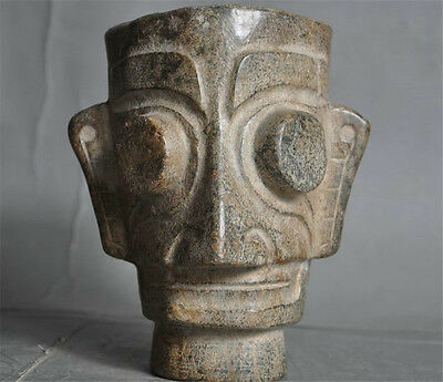 Rare Antiques Chinese Old Stone Hand-Carved Sanxingdui Relics people Head Statue