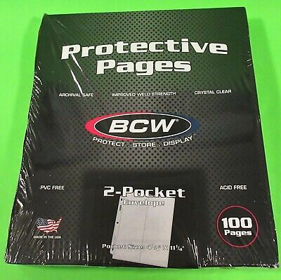 100 Bcw Pro 2-Pocket #10 Business Envelope Pages For Covers, Photos, Coupons