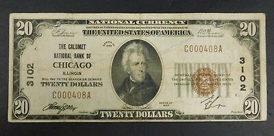 1929 Calumet National Bank of Chicago $20 Bill!! No pinholes!!    AUCTION