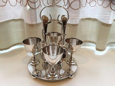 Lovely Antique John Turton  Silver Plated Egg Cup Holder And Spoons