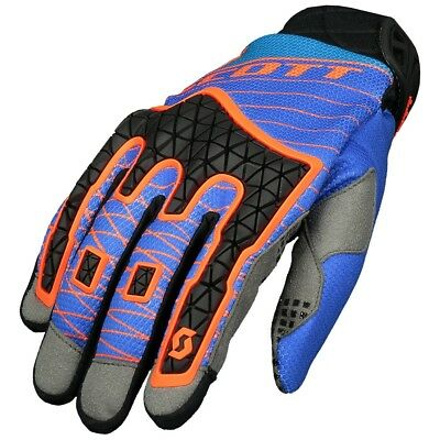 Guanti Da Enduro Gloves Moto Scott Mx Enduro Blu Orange Arancione Blu Tg L