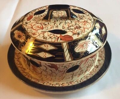 Arthur Wood Imari Design Butter / Cheese Dish With Lid Vintage Collectors Item