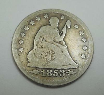 1853 Seated Liberty Silver Quarter - Arrows & Rays - G-VG