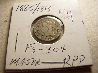 Major Repunched Date 1865/1865 3-Cent Nickel  FS-304, rpd-003