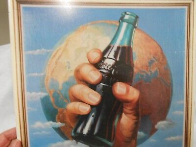 Coca Cola Metal Sign Dated 1993 Showing The World And A Coke