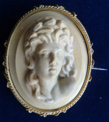 Antique Victorian Greek Style Woman 1900s Large Lava Cameo Brooch