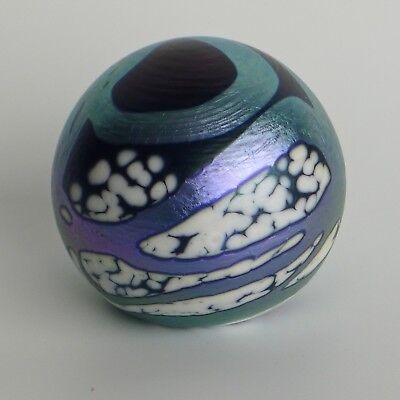 OKRA ART GLASS PAPERWEIGHT blue-black/white/iridescent turquoise/purple + LABEL