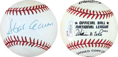 Hank Aaron JSA Vintage Signed Official National League Baseball Braves HOF Auto