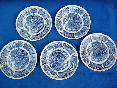 5 Vintage Fair Winds USS Constitution Blue & White Plates , Alfred Meakin , VGC.