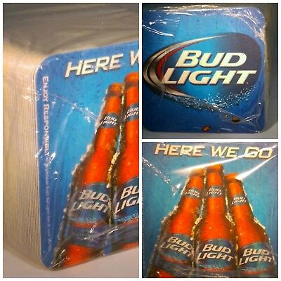 """NEW 125 Pack Full Sleeve Bud Light """"Here We Go""""  Two-sided Beer Coasters 4"""" inch"""