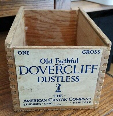 Vint. Old Faithful Dovercliff Dustless Wooden Box-American Crayon Co-Paper Label