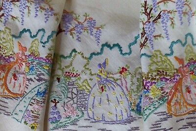Vintage Hand Embroidered Crinoline Lady Ladies Tablecloth Garden Crochet Edge