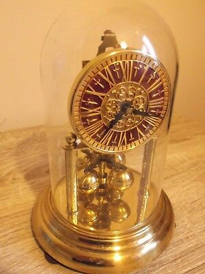 German Anniversary clock with Glass Dome