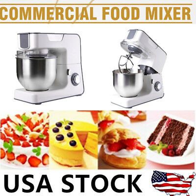 Electric Stand Mixer 8 Speeds 1000W w/ Large Stainless Steel Bowl (Silver White)