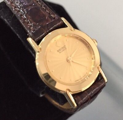 Ladies Genuine Seiko Dress Watch Vintage Gold Leather Brown Mini Case 1N01-0A10