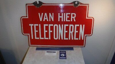 Antique 1900's Porcelain Telephone Sign,German 1 Side-English Other Side,Red
