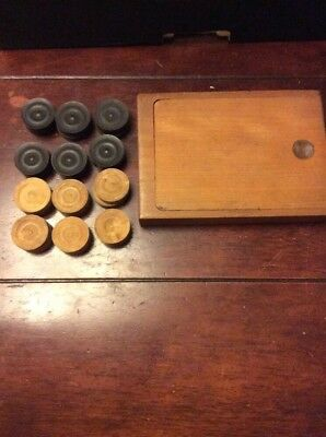 Vintage Wooden Set Of Draughts Counters With Wooden Storage Box