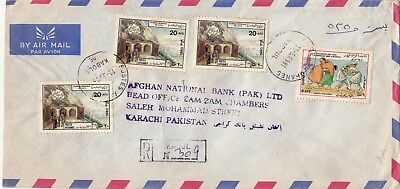 1981 Afghanistan To Pakistan Cover With Upu Wrestling Stamps Moscow Olympic