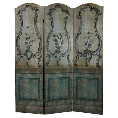 """Antique Style 3 Panel Room Divider-Painted Wood Green Blue Hues-70"""" Tall"""