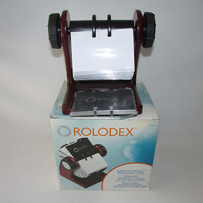 Mahogany Rolodex Rotary Business Card File With Cards Protectors 2 5/8 X 4 New