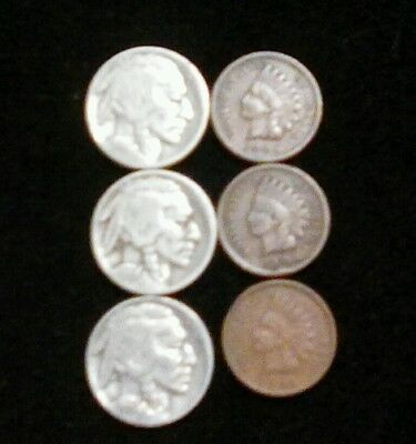 3  each Indian head nickels and Indian head pennies
