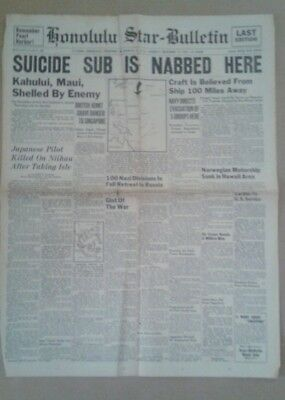 "Honolulu Star-Bulletin newspaper December 16 1941 ""Suicide Sub Is Nabbed Here"""