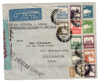 Palestine Air Mail Censored Cover 1939