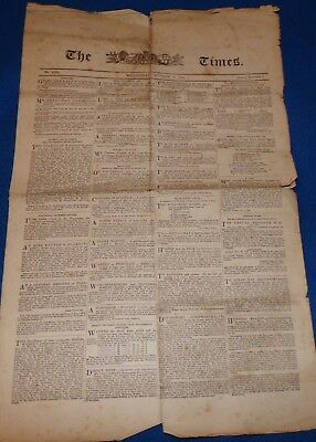 Copy of The Times, October 3rd 1798, with Lord Nelson Related Story