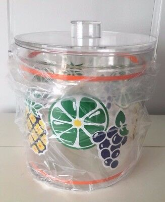 Ice bucket FRUIT Pineapple grapes etc Sotter acrylic plastic lucite NIB vintage