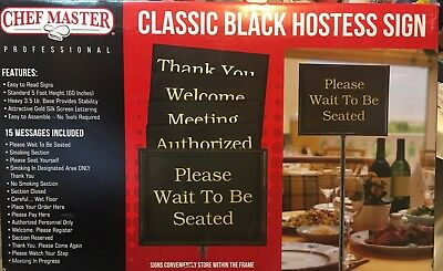 Chef Master Professional Classic Black Hostess Sign 15 Messages Included