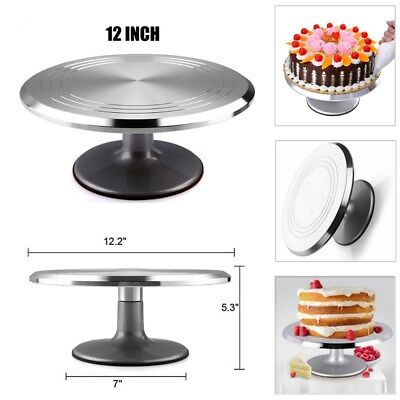 12''Revolving Aluminum Alloy Cake Turntable Stand Holder Cake Baking Decor Tools