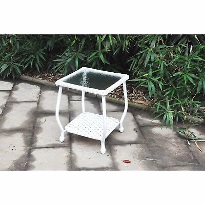 Mainstays Willow Heights All-Weather Wicker Side Table w/ Glass Top