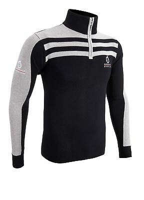 Sunderland 1/4 Zip Stripe Golf Sweater Black/Light Grey Large
