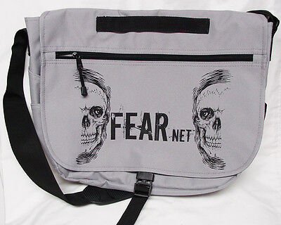 FEAR.NET Skull Promotional Messenger Bag with sturdy black strap and handle